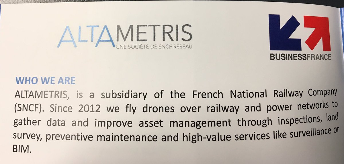 @ALTAMETRIS subsidiary of @SNCF in #Norway to present services on drones over railway @BF_Nordics @NicolasSestier<br>http://pic.twitter.com/MWof3pmYye