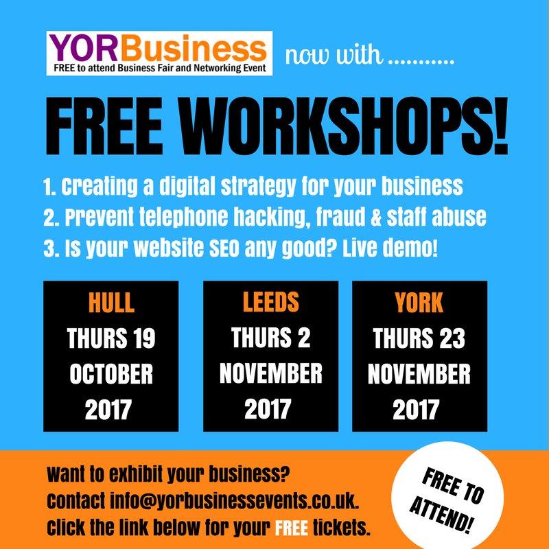 FREE marketing workshops in Hull, Leeds &amp; York  http:// yorbusiness.eventbrite.com / &nbsp;   #leeds #hull #york #yorkshire #networking #startups #printing ##ukbiz <br>http://pic.twitter.com/E2MgtsVnd0