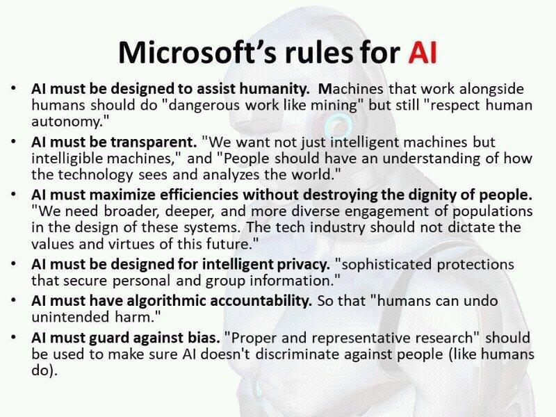 #Microsoft rules for #ArtificialIntelligence   #AI #fintech #digital #tech #bigdata #technology #innovation #DigitalTransformation #ML #DL<br>http://pic.twitter.com/XrYl5quYY2