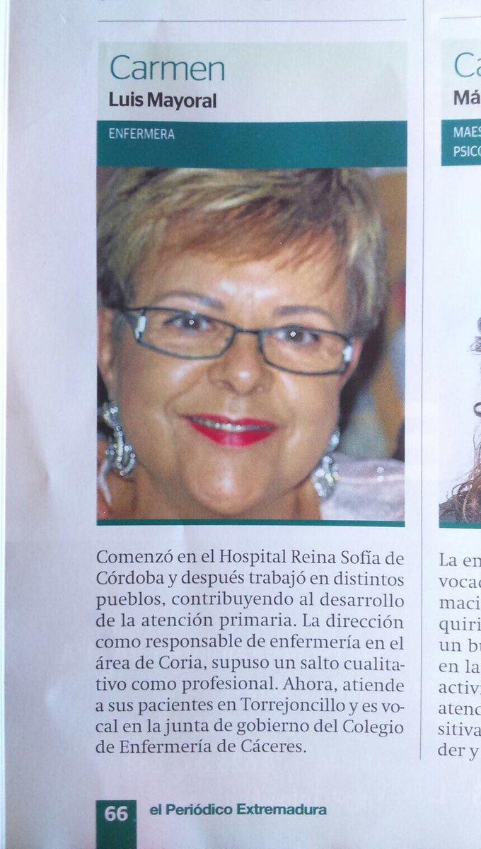 """Nuestra compañera (vocal 3 de la Junta de Gobierno) en el especial """"500 mujeres que hacen Extremadura"""" @EPExtremadura 😊 ¡Enhorabuena Carmen!"""
