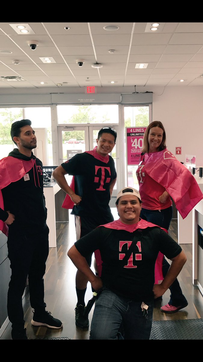 Its T-Mobile Tuesday! Stop by and get your superhero cape! #weloveourcustomers #miaminorth @elua1780