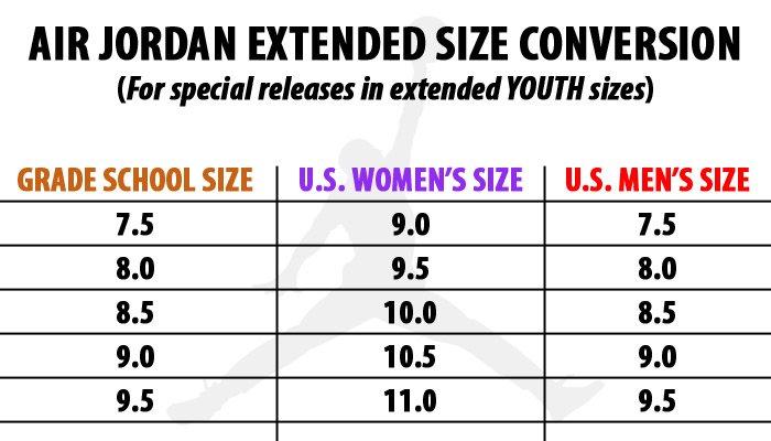air jordan woman size chart