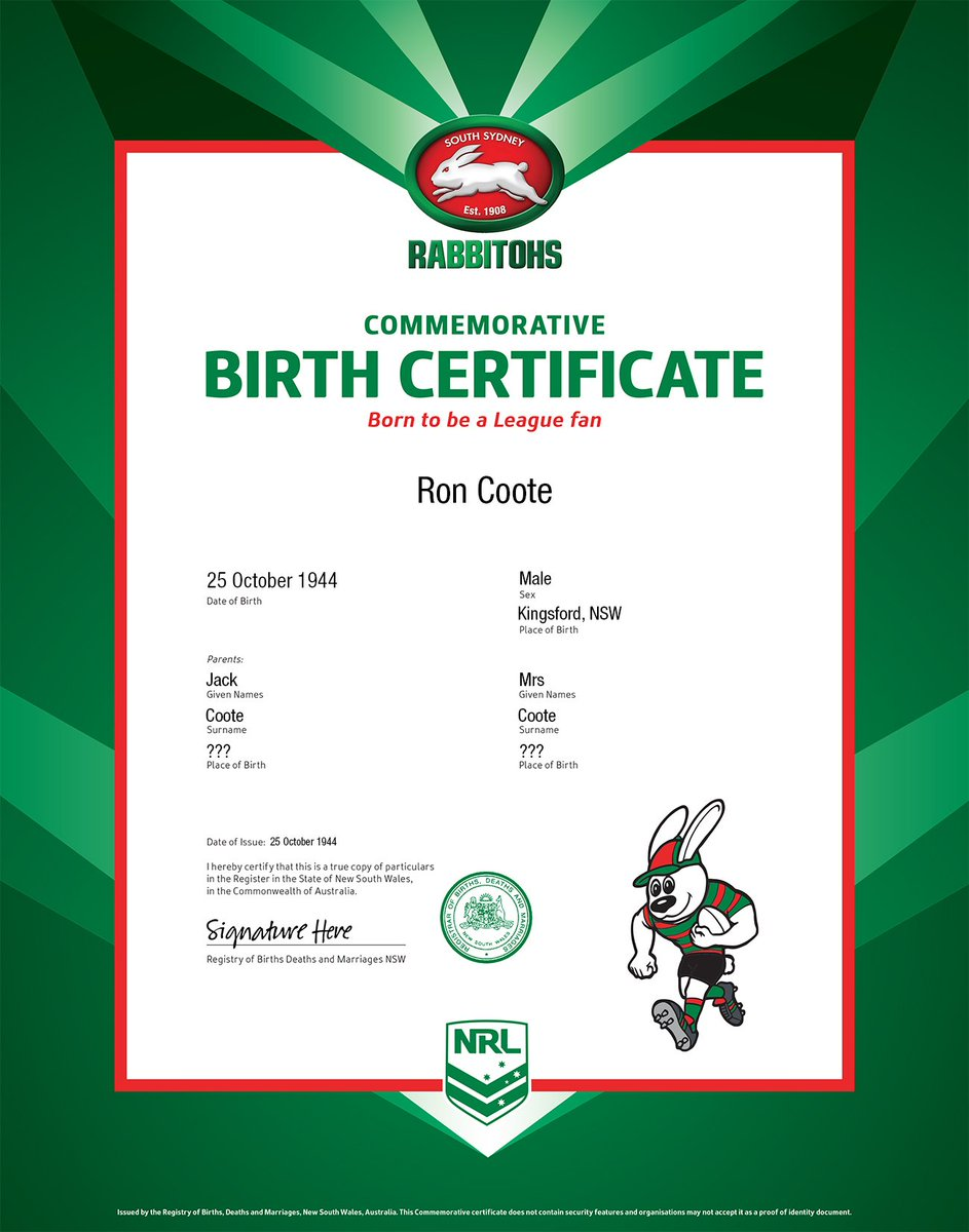 South Sydney Rabbitohs On Twitter Happy Birthday Ron Coote To