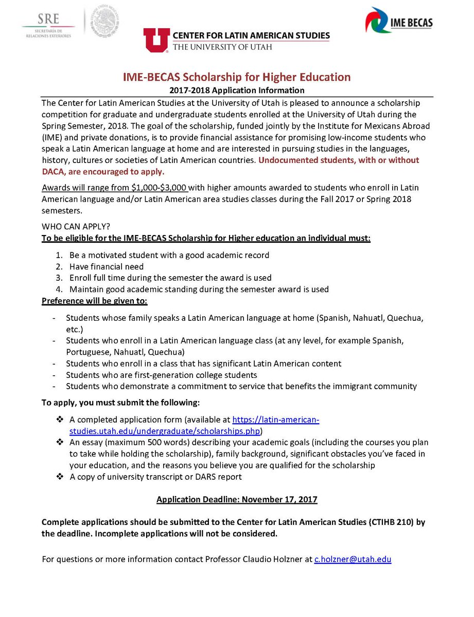 office of engagement u engage twitter hey uutah dreamers allies check out this scholarship opp for undergraduate graduate dreamers