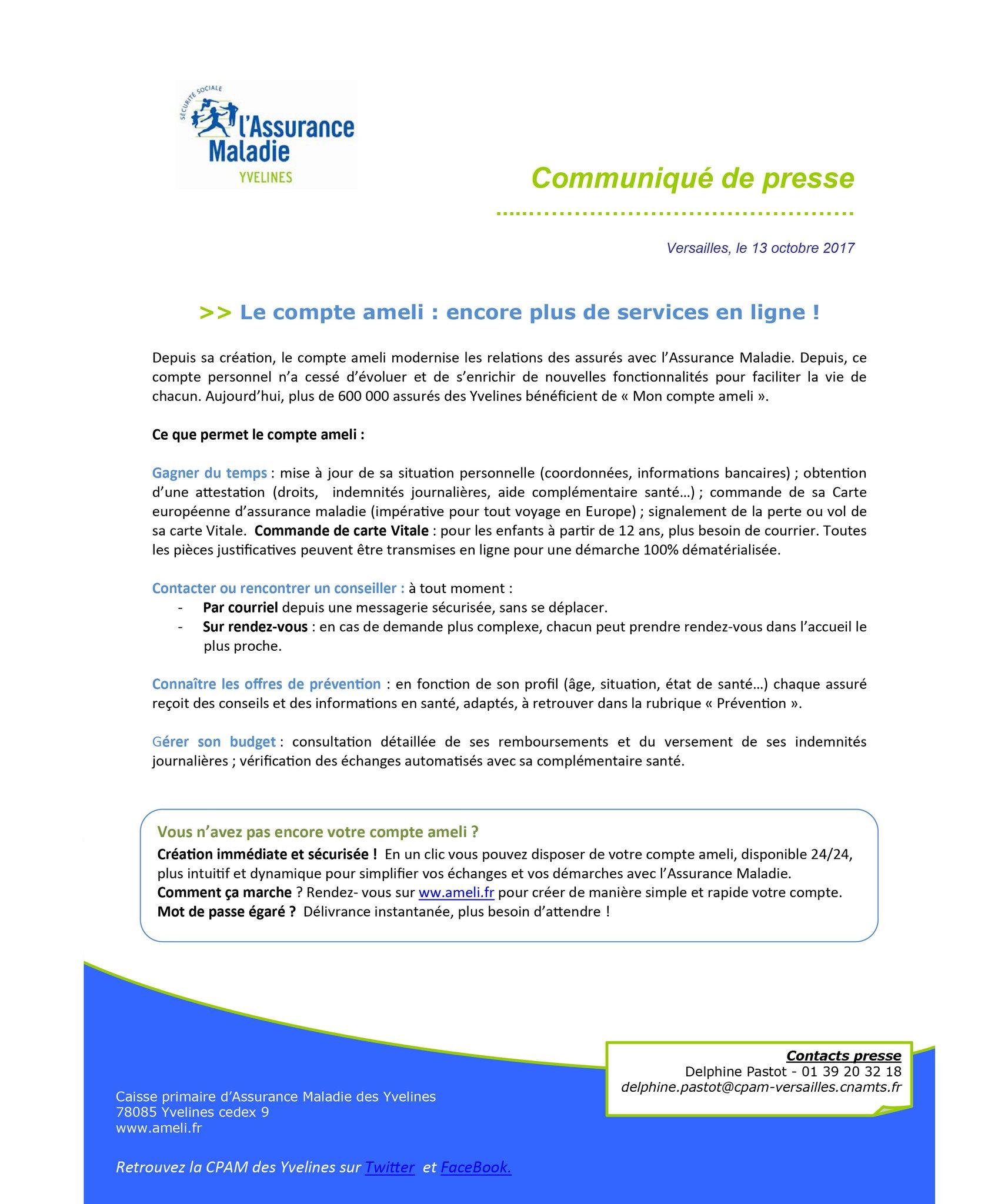 Cpam Des Yvelines On Twitter Communique De Presse Compteameli