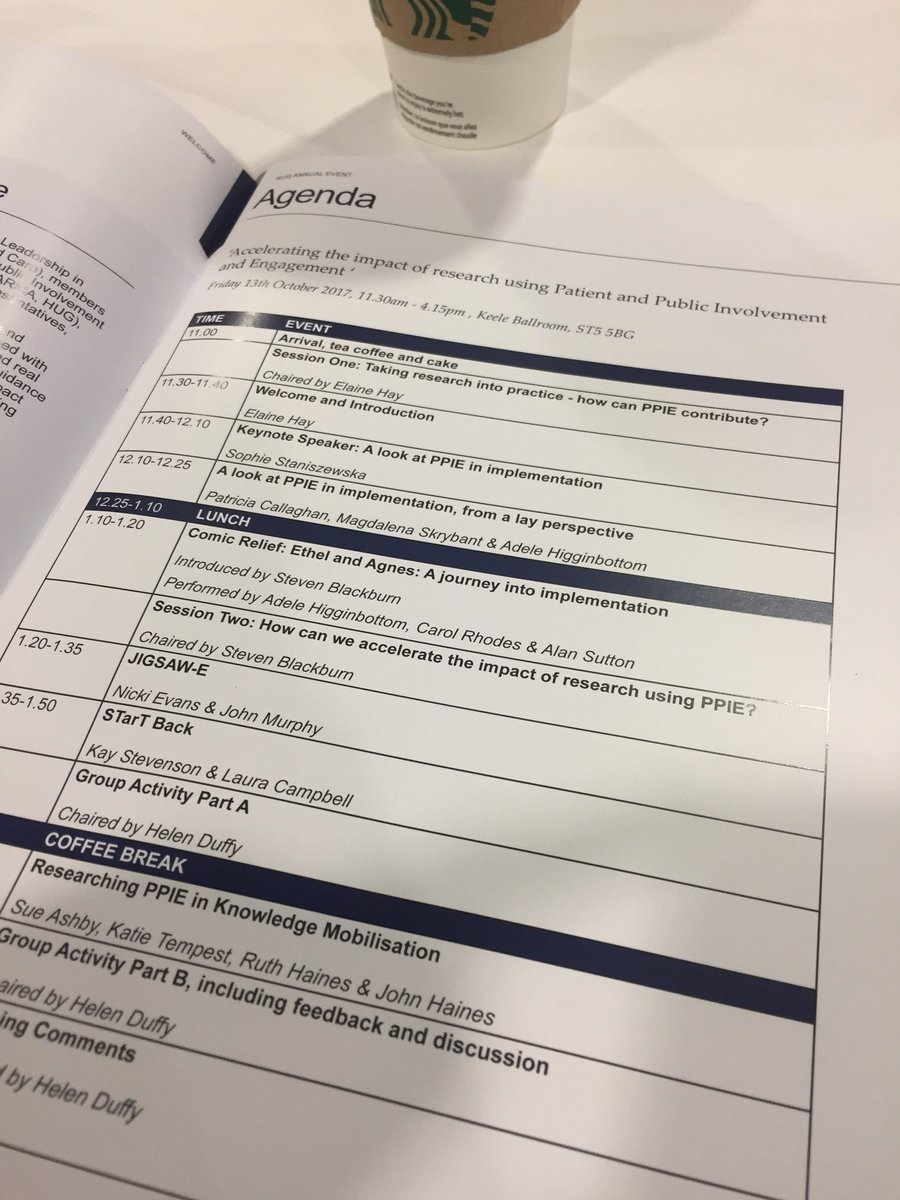Really looking forward to the @KeelePPI event today and the jam packed agenda #publicinvolvement #patientinvolvement #researchengagement <br>http://pic.twitter.com/OcExkr0hl5