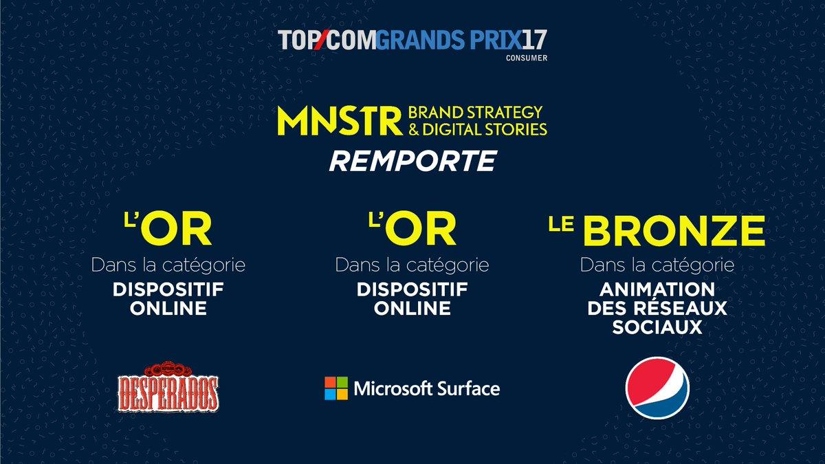 Carton plein pour MNSTR ! 3 campagnes présentées, 3 prix remportés ! #TOPCOM17 pic.twitter.com/abgqYXyug8