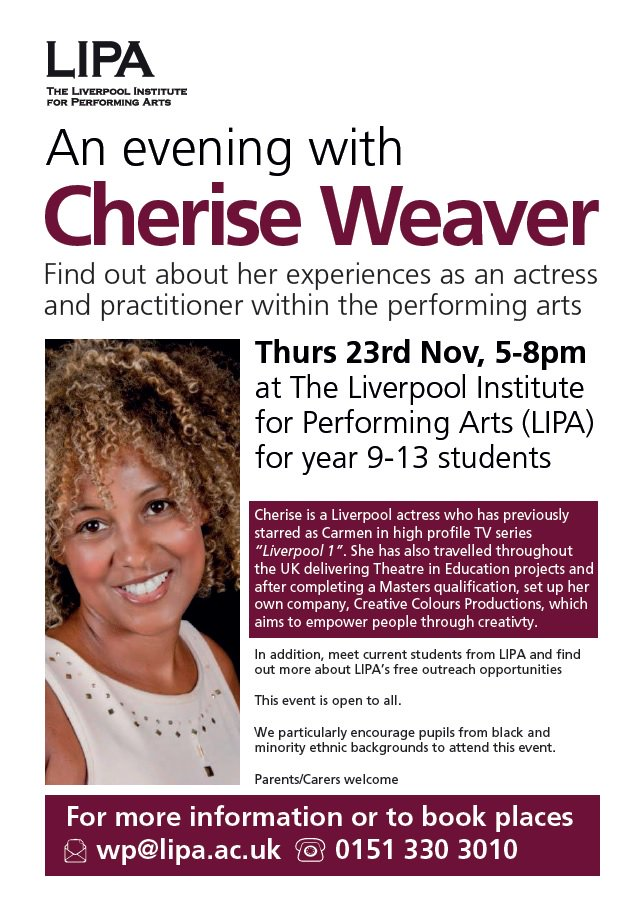 Our colleagues @LIPALiverpool are hosting an evening with local actress  Cherise Weaver… https://t.co/5iTkjYsaS0
