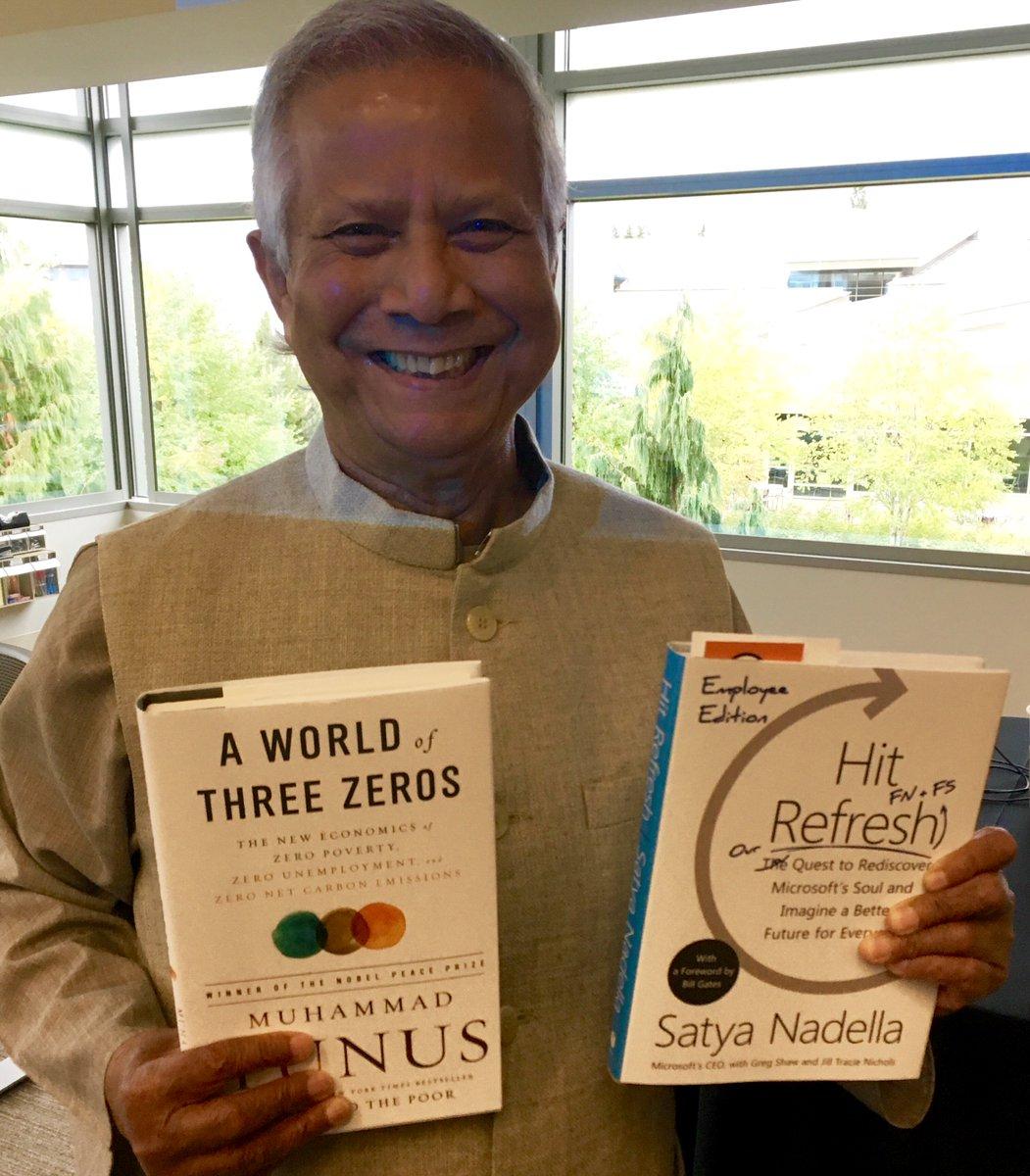 Microcredit&#39;s Yunus @ Microsoft. Celebrating culture of giving @Akhtarbad @msphilanthropic #msftalum #hitrefresh #empathy #WorldOfThreeZeros<br>http://pic.twitter.com/bHi0oHJCht