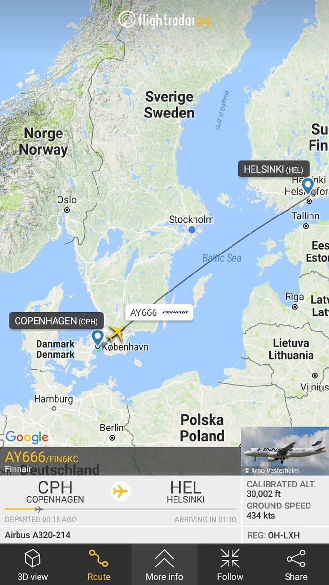 Flight 666 on #FridayThe13th is now en route to #HEL  #AY666