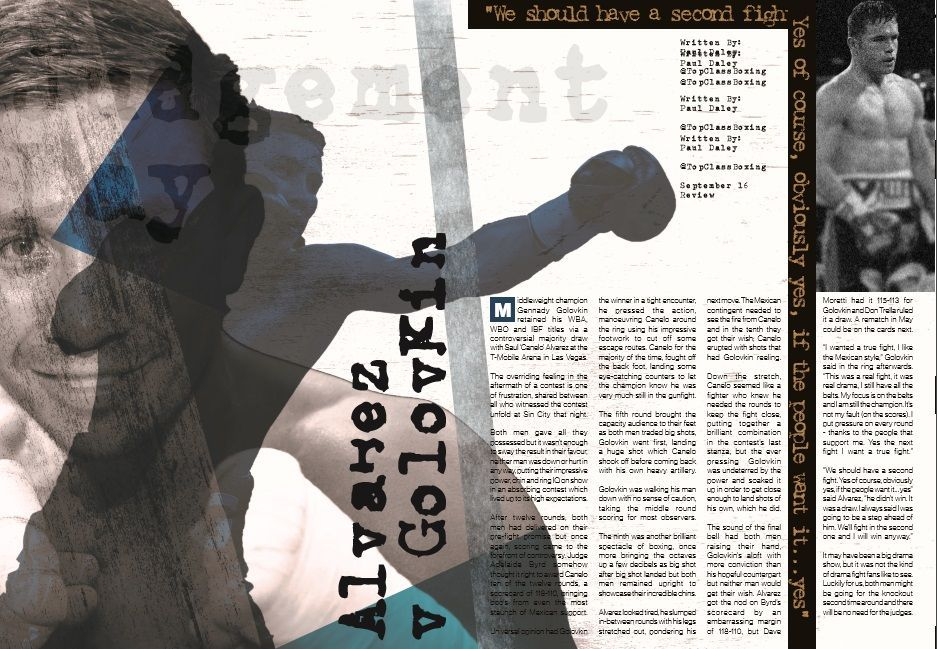 Relive the #Canelo v #Golovkin controversial draw ahead of their rematch...   FREE #boxing e-mag CLICK HERE-&gt;   https:// buff.ly/2xCYlVL  &nbsp;  <br>http://pic.twitter.com/dvrpFZOeUI