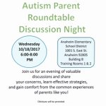 #Autism Parent Round Table Discussion Night 10/18/17 at the District Office. Information attached. #ParentEngagement