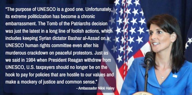 .@nikkihaley on US decision to leave UNESCO due to anti-Israel bias: &quot;extreme politicization&quot; of UNESCO &quot;has become a chronic embarrassment&quot; <br>http://pic.twitter.com/SLLyCt0fnk