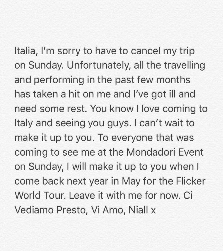 Italia, I'm sorry to have to cancel my trip on Sunday…