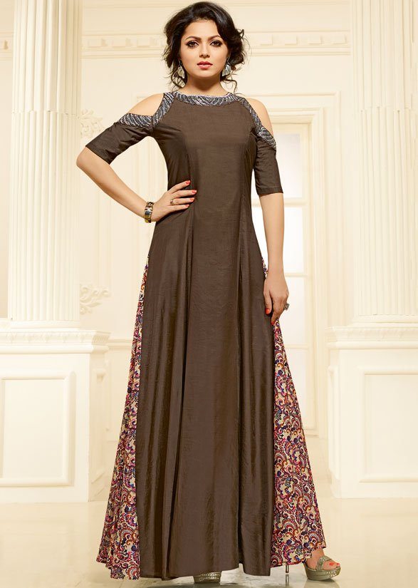 #DrashtiDhami Chocolate Brown and Beige #Gown  Buy Online @  http:// ow.ly/uuy630fOZLD  &nbsp;    Price - $39.00 USD / 2500 INR SKU - TTR13503<br>http://pic.twitter.com/yijoKJCDHK
