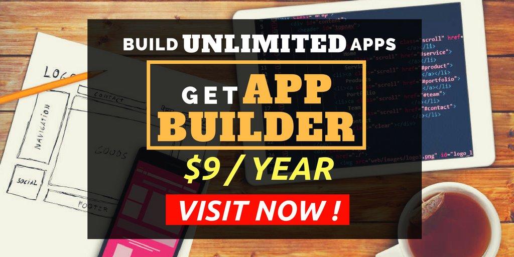 #mobileapp WOW! Get App Builder $9/year. UNLIMITED Apps. Get Free $1100 App Marketing. GET NOW &gt;&gt; http:// bit.ly/2x5R2tT  &nbsp;  <br>http://pic.twitter.com/n9ZETaIikR