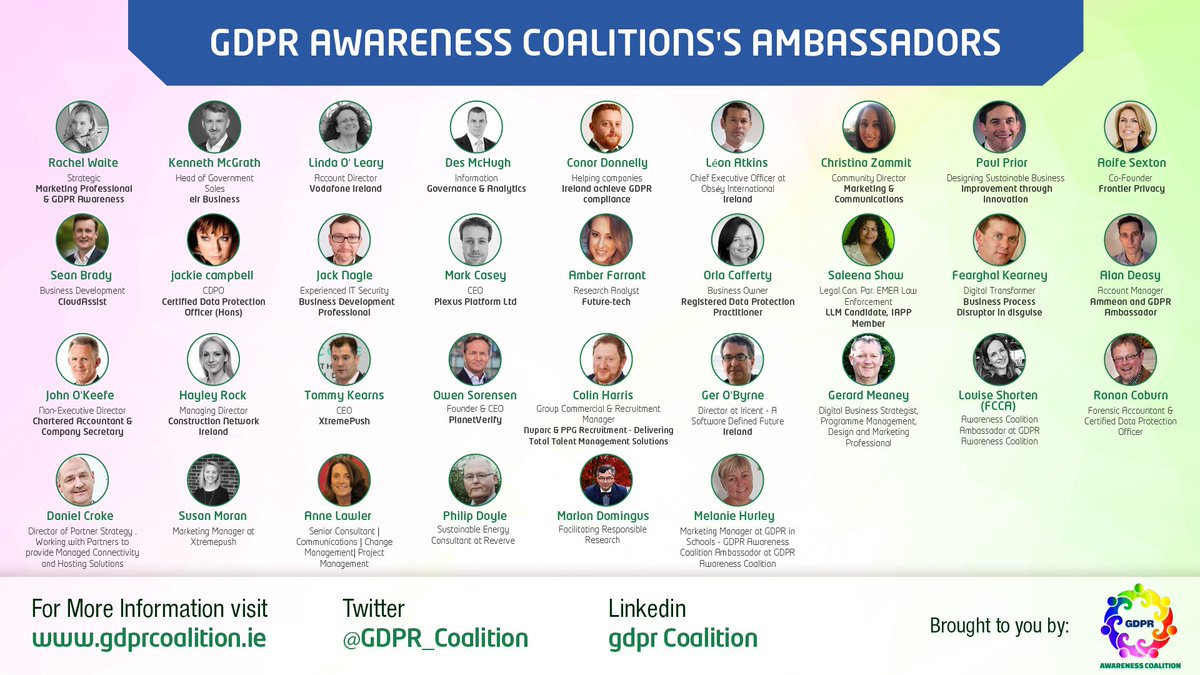 Gdpr Coalition On Twitter Meet Our Volunteer Ambassadors 1 33 Data Protection Consultant Dataprotection Datasecurity