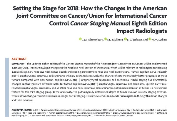 SETTING THE STAGE FOR 2018 - What Radiologists need to know about AJCC/UICC 8th Ed - for Jan 2018  http://www. ajnr.org/content/early/ 2017/10/12/ajnr.A5409 &nbsp; …  #HNrad #NeuroRad <br>http://pic.twitter.com/0I71QHmlYS