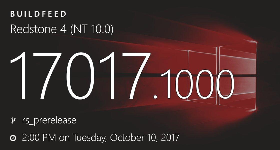 Windows 10 RedStone 4 Build 17017 Insider Preview