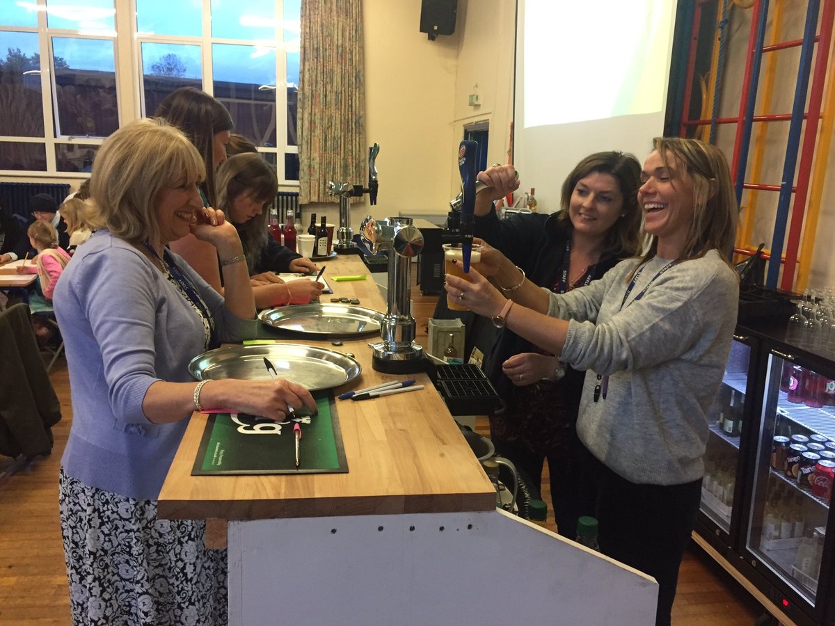 Mrs Mort and Mrs Slater busy on the bar at our first beetle drive #ellesmere #beetledrive