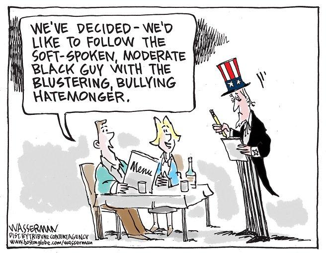 Editorial cartoon by Dan Wasserman #Donald #Trump #DonaldTrump #Barack #Obama #BarackObama #Hillary #Clinton #HillaryClinton<br>http://pic.twitter.com/iwykpHdpSE
