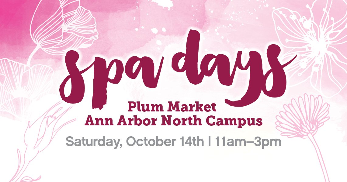 Don&#39;t miss #SPADAYS tomorrow at #PlumMarket A2 North + Bloomfield! 10% of Spa Day sales will go to #WomensWellness (A2) + @ThePinkFund (BLM)<br>http://pic.twitter.com/b2DpiaasYd