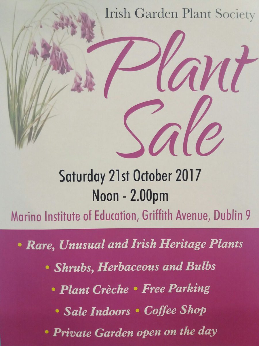 Sat 21st #IrishGardenPlantSociety sale, 12 to 2pm @MarinoInstitute. @igpstweets #LoveYourGarden <br>http://pic.twitter.com/5KQpm80NFl