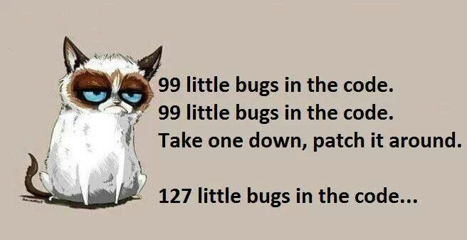 99 little bugs in the code  http:// bit.ly/2f0iHkq  &nbsp;   #test #programmer<br>http://pic.twitter.com/V0TOkwCUWr
