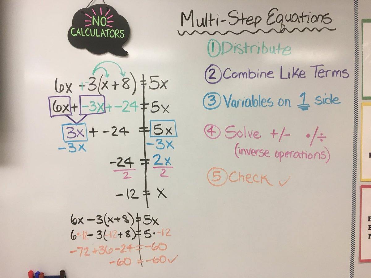 Color-coding the steps to equation solving! #rainbow #strategies #teach180 @LakeDenoon @MuskegoNorwaySc<br>http://pic.twitter.com/pGZ3dIDKFv