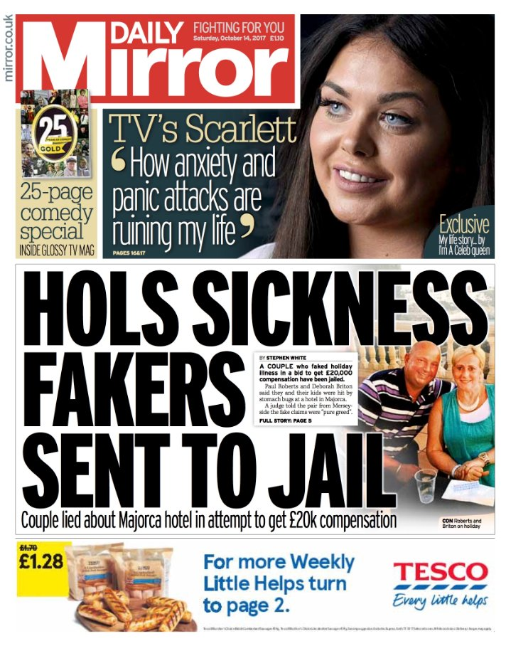 DAILY MIRROR: 'Hols sickness fakers sent to jail' #skypapers