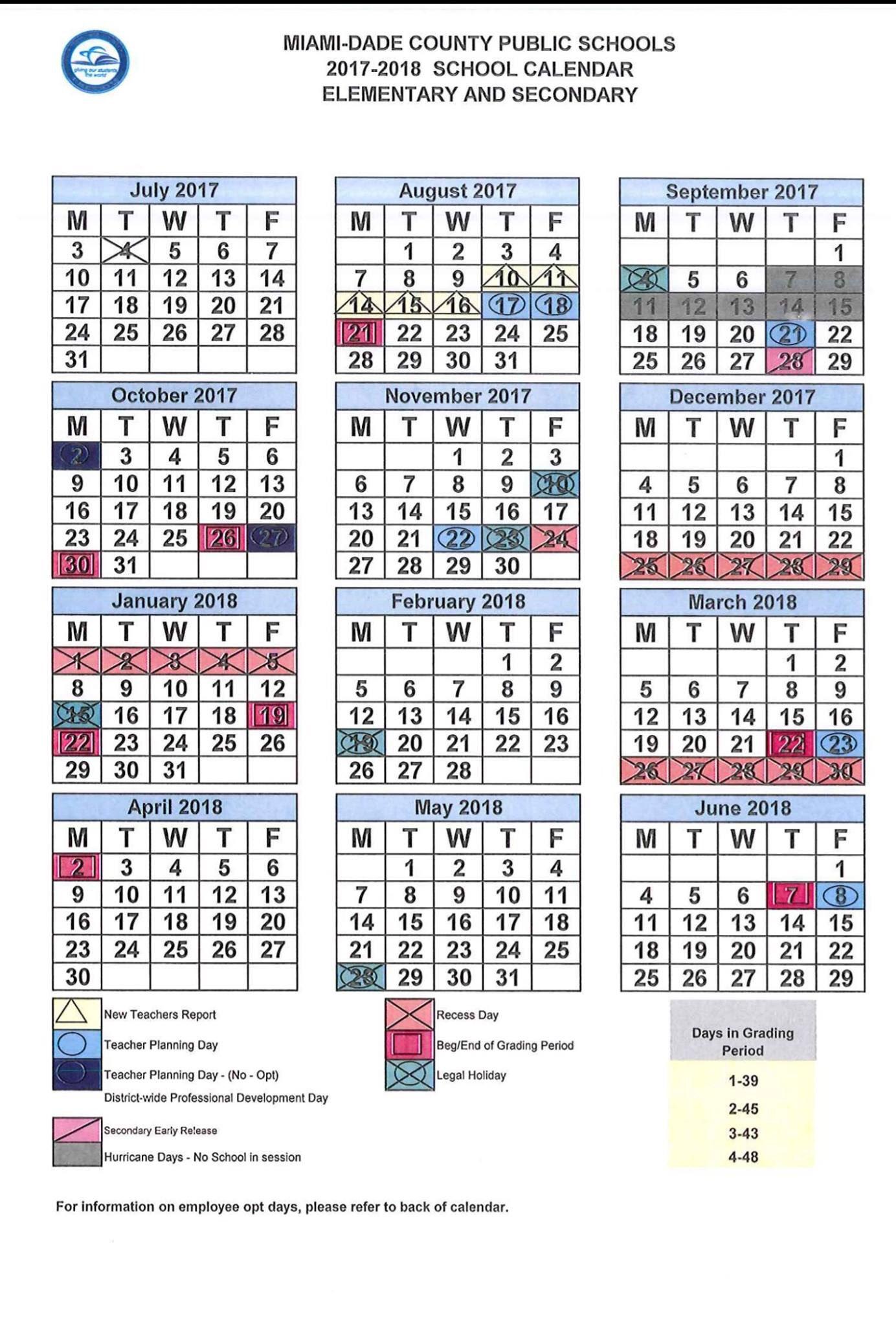 Mdcps Calendar 2022 23.South Miami K 8 On Twitter Revised School Calendar For 2017 2018 Mdcps