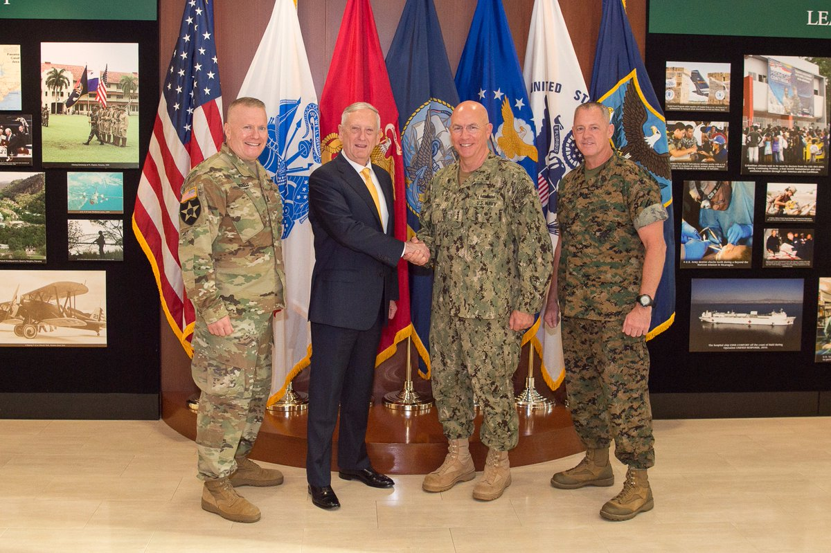 #SecDef Mattis and @SEAC_Troxell met with leadership from @southcomwatch today in Miami, #Florida. For more:  https:// go.usa.gov/xnCgB  &nbsp;  <br>http://pic.twitter.com/HhyLlxWvVM