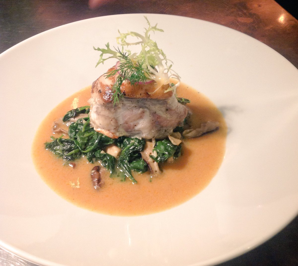 Our today&#39; special: monk fish w/ lobster bisque, spinach &amp; mushroom. #platdujour <br>http://pic.twitter.com/Dnh7ffURQI