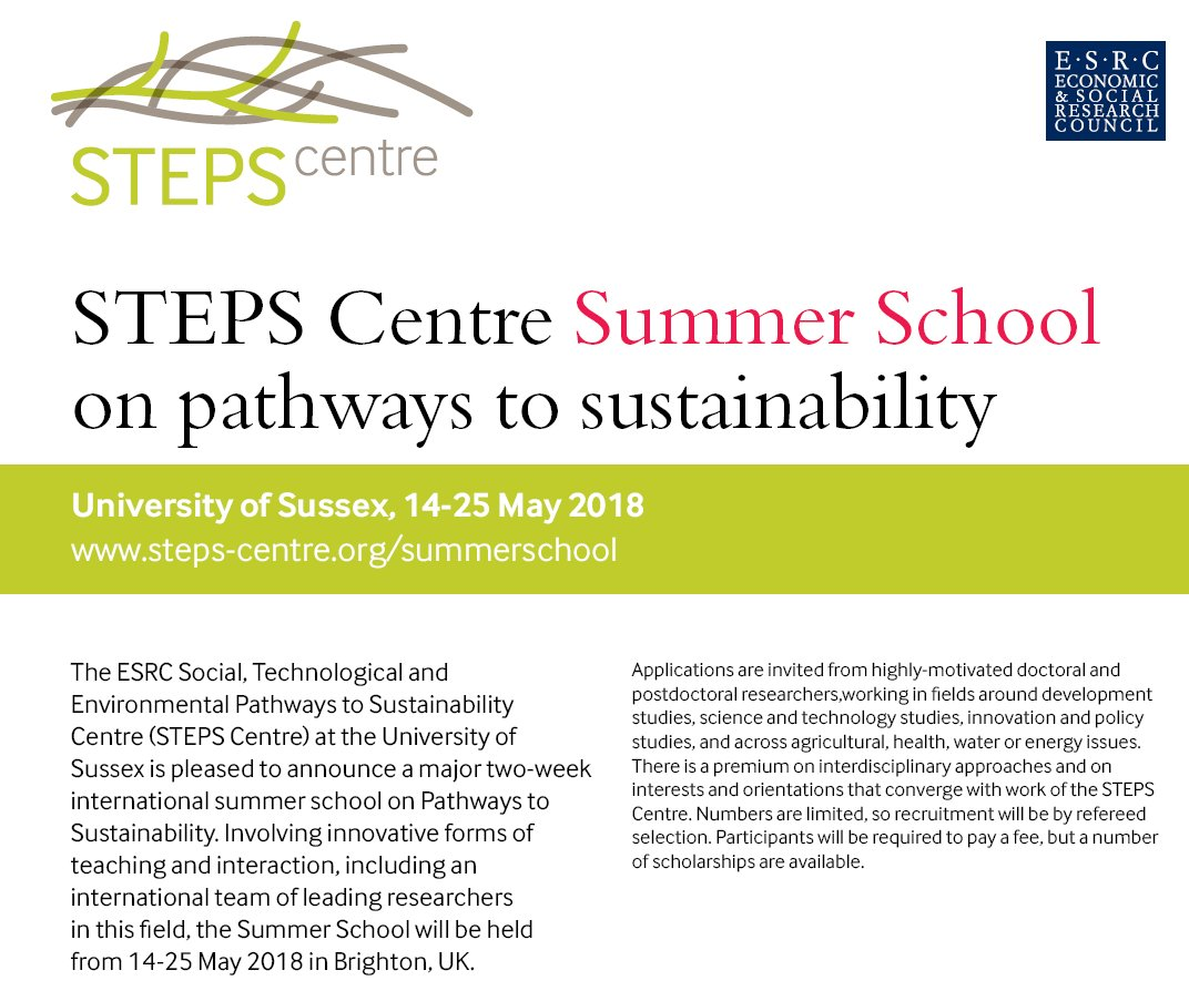 Call for Applications @STEPSCentre #SummerSchool on Pathways to #Sustainability 14-25 May 2018 at @IDS_UK #SDGs #CFA  http:// bit.ly/2wVJc2j  &nbsp;  <br>http://pic.twitter.com/eOFP6RsgjL