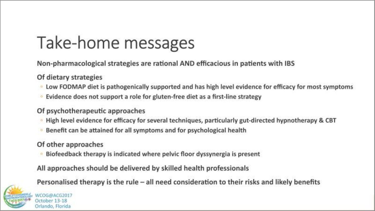 Dr. Gibson&#39;s take home points on dietary therapies for #IBS at #wcogatacg2017 #lowFODMAP #gluten #glutenfree<br>http://pic.twitter.com/vTTfZAtXNs