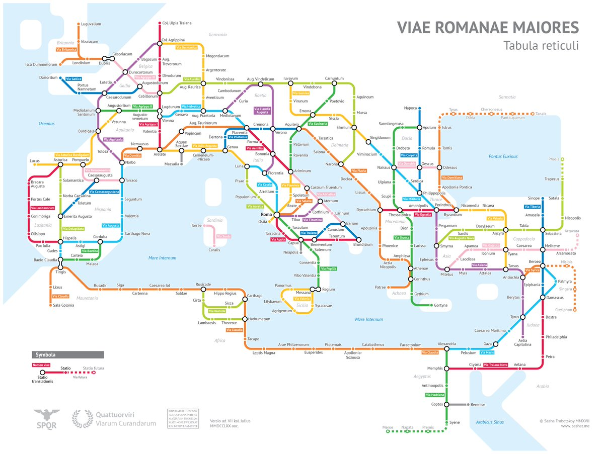 A subway-style diagram #map of the major Roman roads, based on the Empire of ca. 125 AD.  https:// buff.ly/2xCecUz  &nbsp;  <br>http://pic.twitter.com/go6qBf3rg8