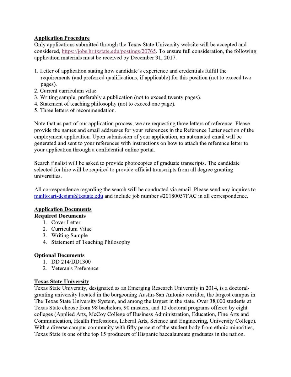 designhistorysociety on twitter the school of art design at texas state university looking 4 design historian in the position of assistant professor