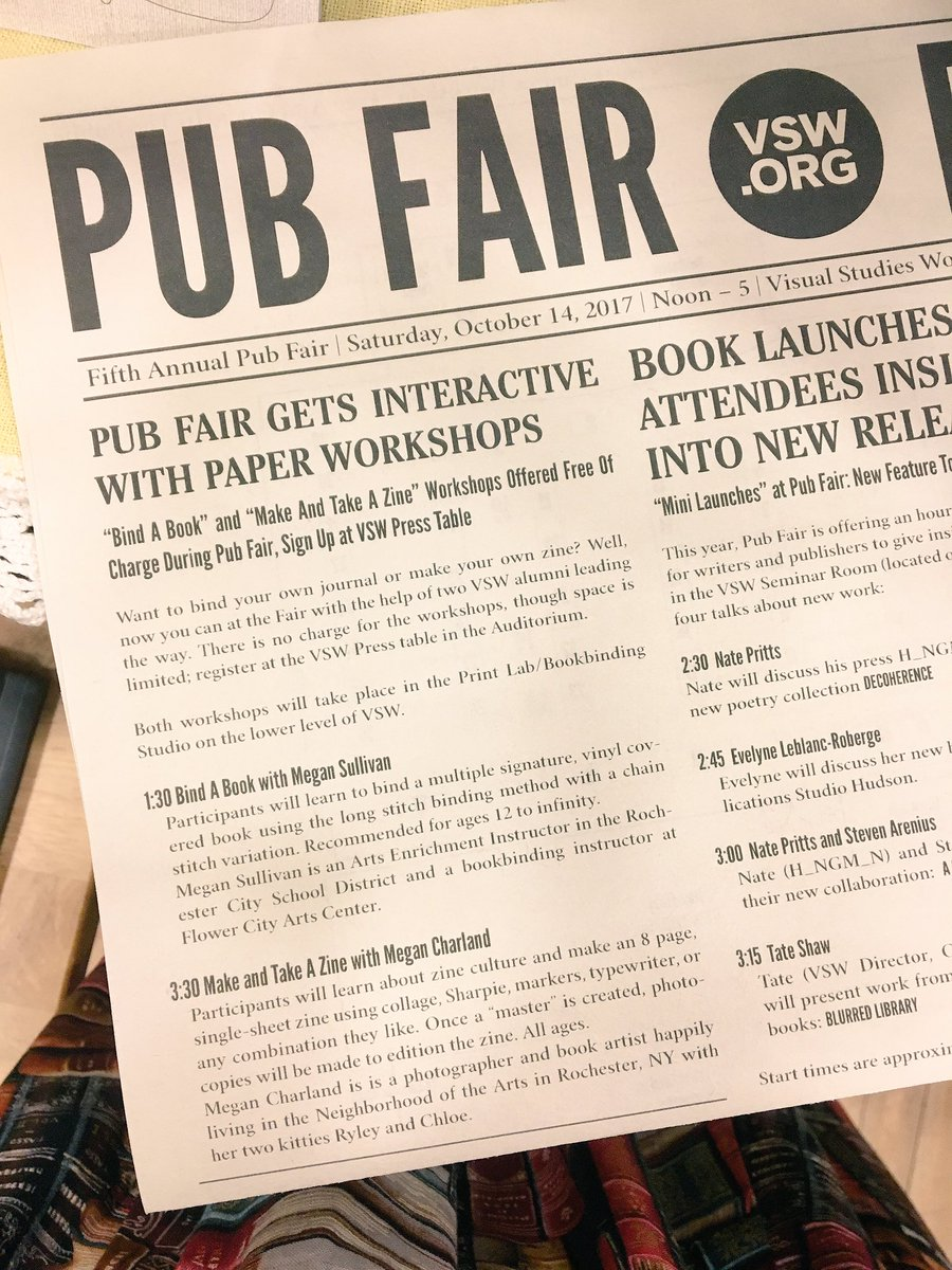 Some fun DIY #book and #paper workshops happening today!   @VSWnews @megancharland #VSWPubFair #RochesterNY #rocny #585 #printisnotdead<br>http://pic.twitter.com/DngB39fWNC