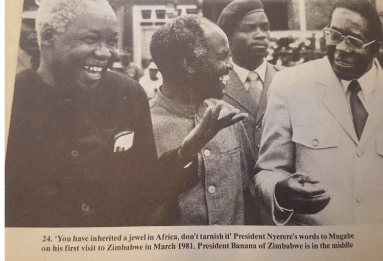 "You have inherited a jewel in Africa, don't tarnish it."" #Tanzania President Nyerere to new #Zimbabwe Prime Minister Mugabe in 1981. His words were prophetic.#NyerereDay<br>http://pic.twitter.com/Iu56l64GL2"