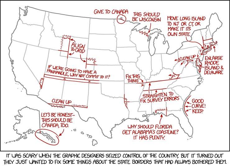 Fantastic #map #cartoon by @xkcdComic fixes annoying US state borders.  https:// buff.ly/2wVaJkE  &nbsp;   <br>http://pic.twitter.com/NFIkybHNiL