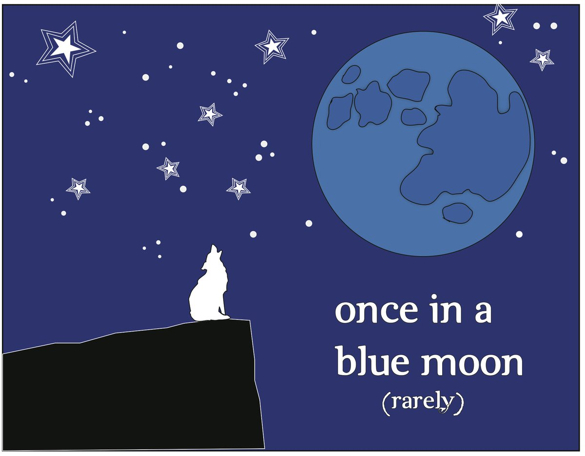 If something happens &quot;once in a blue moon&quot;, it means that it happens rarely! #LearnEnglish #EnglishIdioms  http:// qoo.ly/ihh98  &nbsp;  <br>http://pic.twitter.com/PWAqQGMKkV
