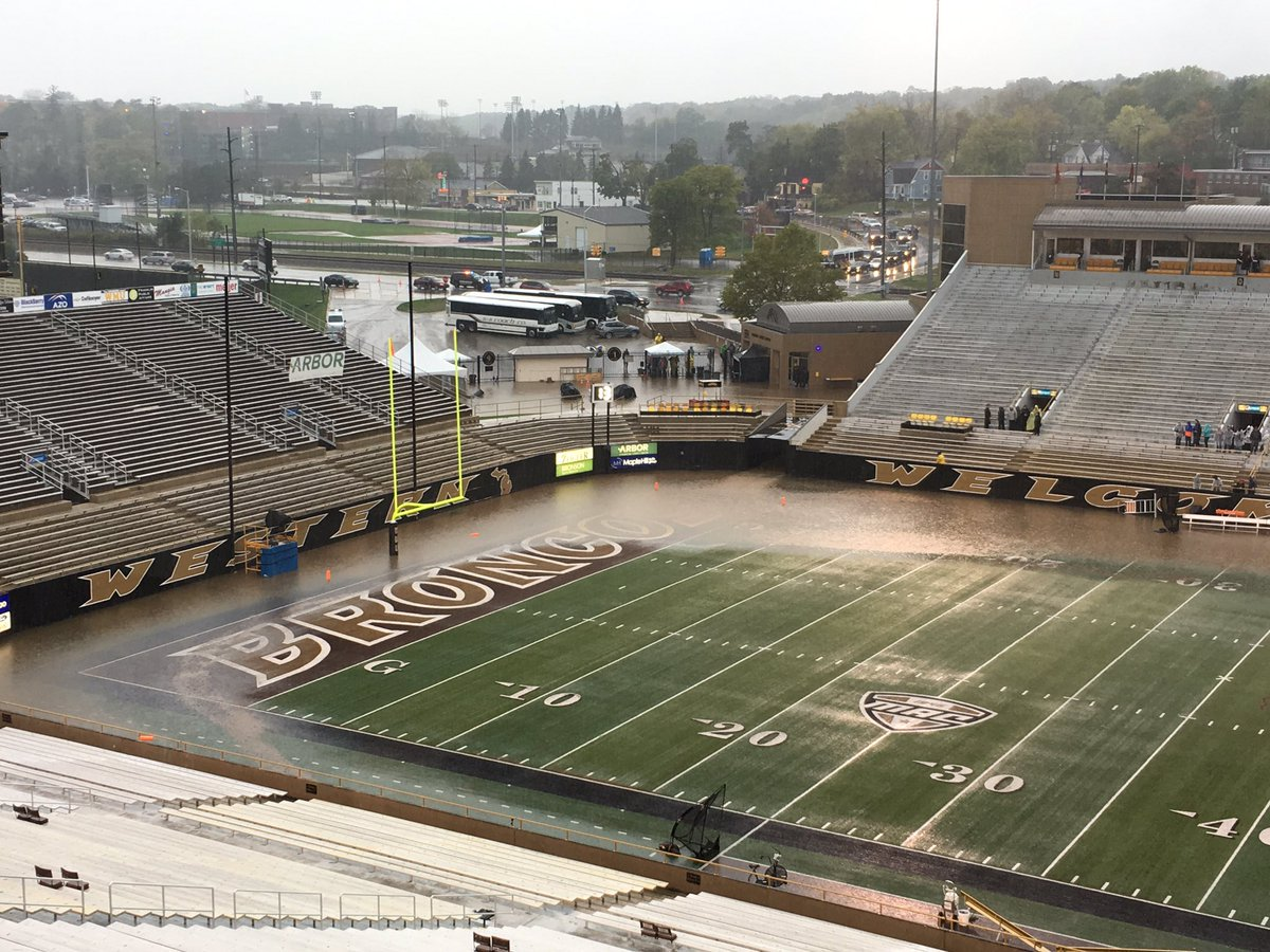 Western Michigan v. Akron Football game postponed to 1 PM Sunday, Oct. 15 due to heavy rain fall & lightning in Kalamazoo. @ESPNCFB #MACtion