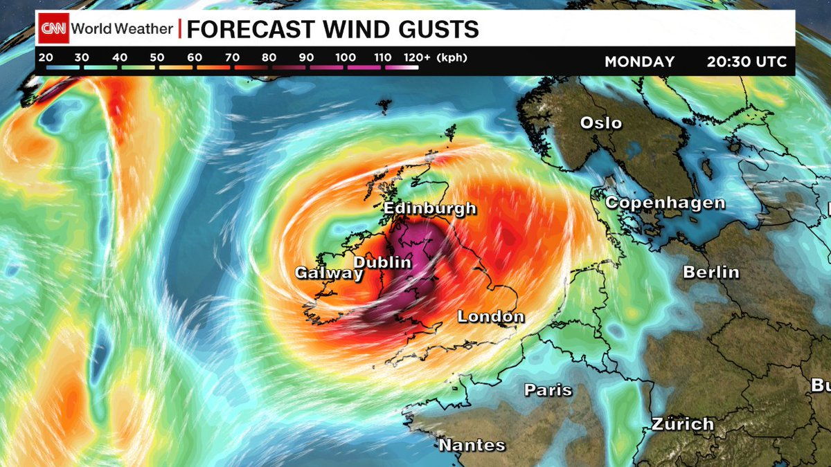 The biggest threat #HurricaneOphelia will bring to the #UnitedKingdom are damaging #winds. Gusts upward of 100 kph expected Monday. <br>http://pic.twitter.com/Y4xnTDC8J7