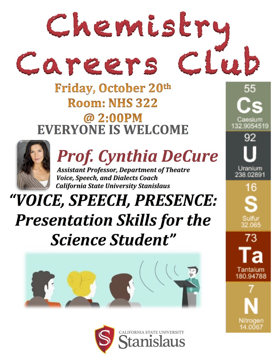@stan_state Prof. Cynthia DeCure @cyndecure &quot;Voice, Speech, Presence: Presentation Skills for the Science Student&quot; #ScienceComm @StanScience<br>http://pic.twitter.com/yrwp5qMOe6