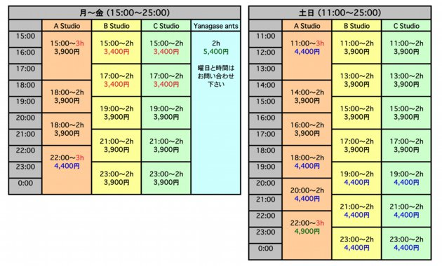 15日(日)スタジオ空き状況  Ast.全時間 Bst.19:00以外 Cst....