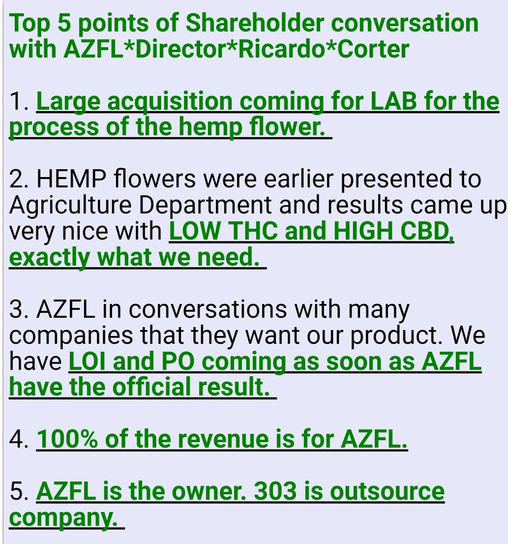 $AZFL 5 EXCELLENT POINTS. THANKS Dollar Time~KNOW WHAT YOU OWN~GOT TO BE IN IT TO WIN IT~GOLDEN CROSS IS HERE~TIME TO LOAD THE BOAT! #hemp <br>http://pic.twitter.com/ifodBtFALD