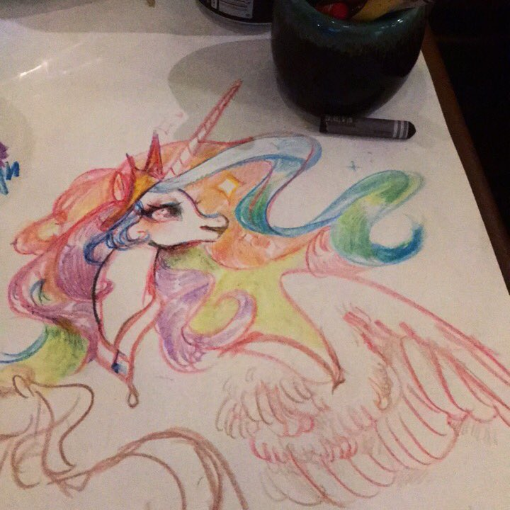 Went to a restaurant that has the tables covered w paper and drew princess celestia  #mlp #crayons<br>http://pic.twitter.com/2sOHuFS7DY