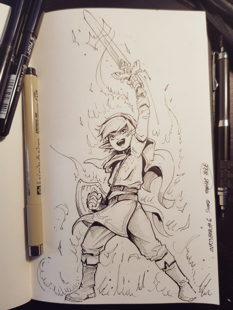 6: &quot;Sword&quot;. How to NOT think about #link , as many, this little guy was one the most important hero in my childhood #inktober2017<br>http://pic.twitter.com/xcPGAQ1eZJ