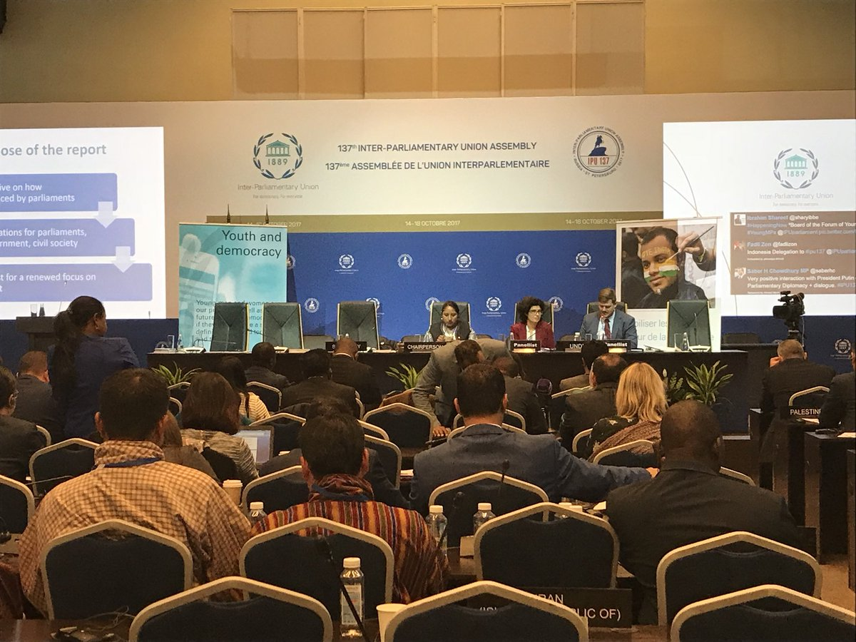 MadsHove  of #UNDP and Kareen Jabre of IPU present the Global Parliamentart Report on oversight to young parliamentarians at #IPU137<br>http://pic.twitter.com/fDxHddqHM0