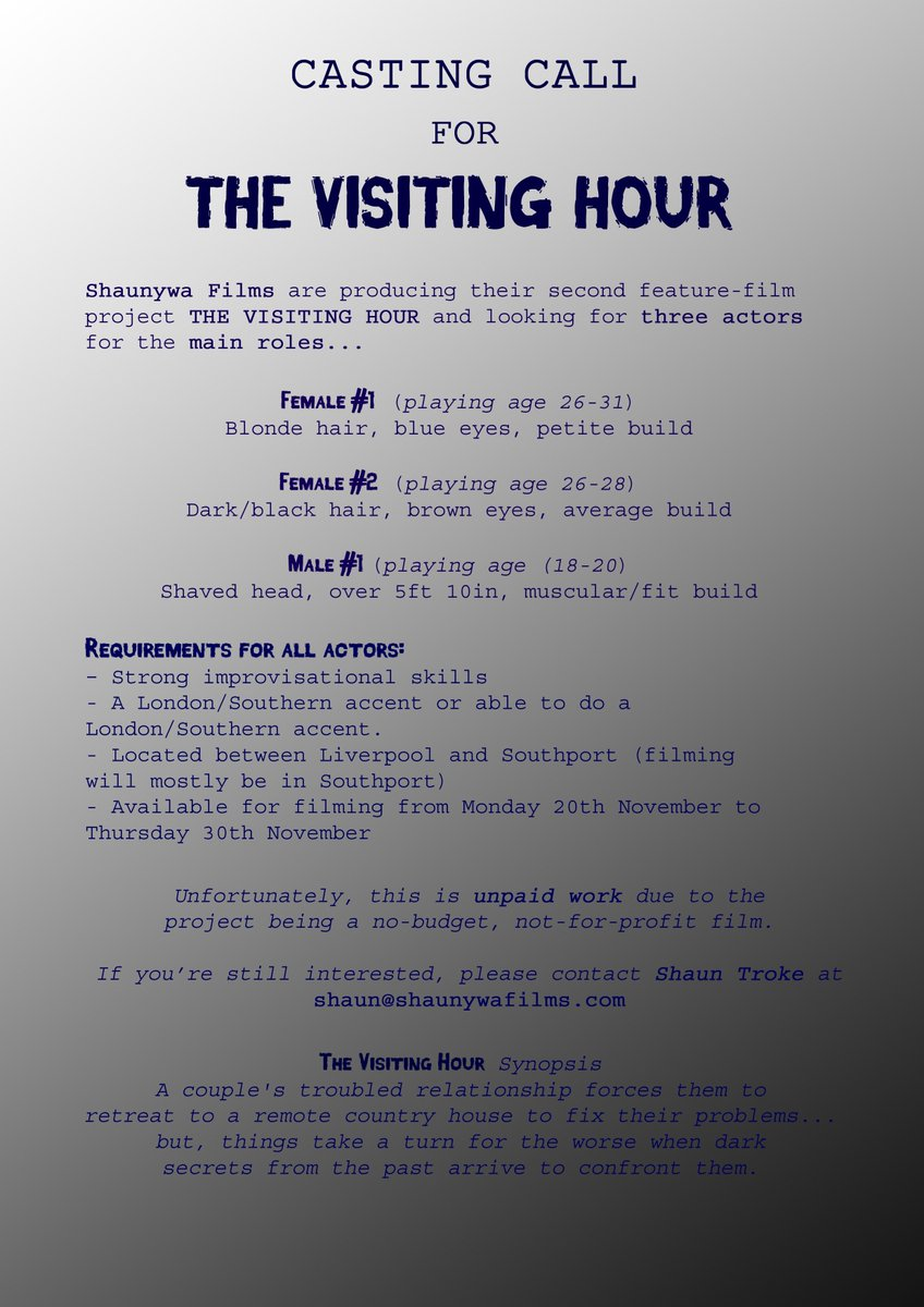 CASTING CALL: Actors required this NOVEMBER for no-budget FEATURE-LENGTH FILM (please RT if possible) #casting #castingcall #TheVisitingHour<br>http://pic.twitter.com/rq8APav8JM